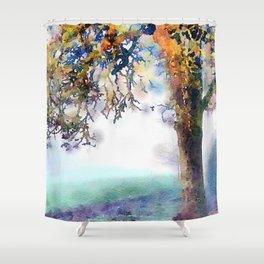 Tree in Fog Shower Curtain