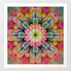 Abstract colorful Fowers Mandala Art Print