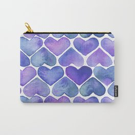 Watercolor Purple Heart Painting Carry-All Pouch