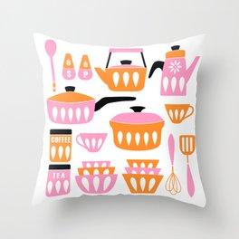 My Midcentury Modern Kitchen In Pink And Tangerine Throw Pillow