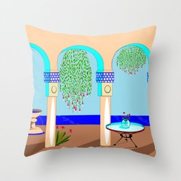 A Mediterranean Garden with Fountain Throw Pillow