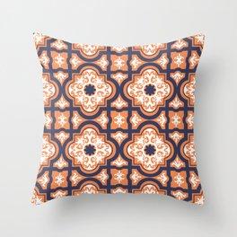 Talavera Indigo Blue Rust Orange Throw Pillow