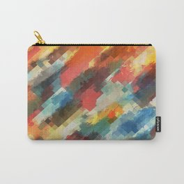 psychedelic camouflage geometric pixel square pattern abstract in orange yellow blue Carry-All Pouch