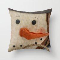 snowman Throw Pillows featuring Snowman  by IowaShots