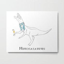 Mimosasaurus Sporting Blue Scarf Metal Print
