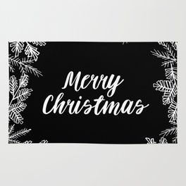 Merry Christmas Black and White Rug