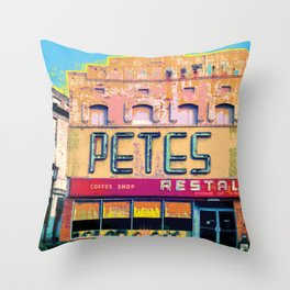 Pete's Restaurant Vintage Throw Pillow