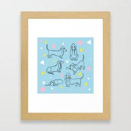 Colorful Basset Hounds Pattern Framed Art Print