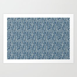 Linen White Tiger Stripes Pattern on Blue Pairs To 2020 Color of the Year Chinese Porcelain Art Print