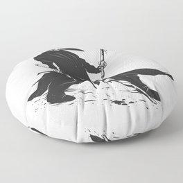 Samurai skull - japanese evil - black and white - fighter illustration - grim reaper cartoon Floor Pillow
