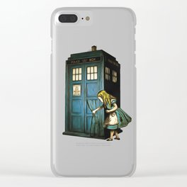 Through The Police Box - Alice In Wonderland Clear iPhone Case