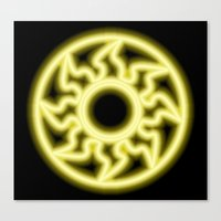 magic the gathering Canvas Prints featuring Magic the Gathering, Neon White Mana by Thorn Blackstar