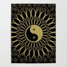 'Yin Yang Golden Daisy' Gold Black mandala Poster