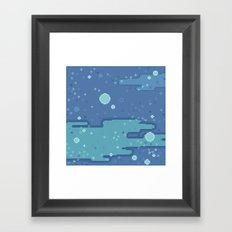 Blue Space Bubbles (8bit) Framed Art Print