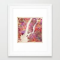 new york map Framed Art Prints featuring New York Map Watercolor by Map Map Maps