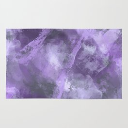 Stormy Abstract Art in Purple and Gray Rug