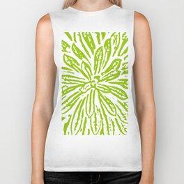 Chartreuse Flower Linocut Textile Biker Tank