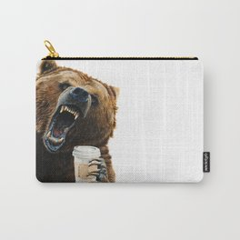""" Grizzly Mornings "" give that bear some coffee Carry-All Pouch"