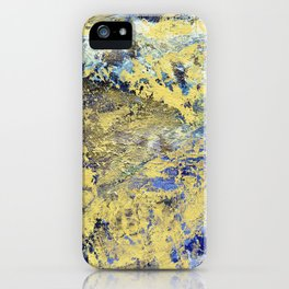 Blue & gold abstract painting no.170118 iPhone Case
