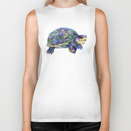 Turtle children artwork illustration blue purple teal animal art Biker Tank