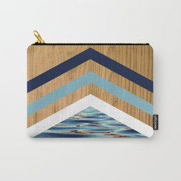 Wood Water Waves Geometric Hipster Triangels Carry-All Pouch