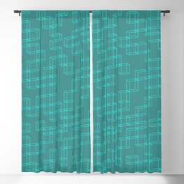 Geometrical cubes and lines in bright glowing mint green Blackout Curtain