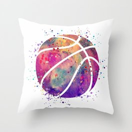 Purple Basketball Watercolor Art Print Sports Poster Nursery Home Decor Kids Room Sports Painting Throw Pillow
