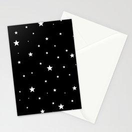 Scattered Stars - white on black Stationery Cards