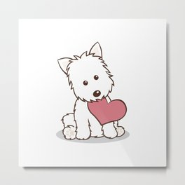 Westie Dog with Love Illustration Metal Print