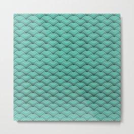 Japanese green Art Deco waves Metal Print