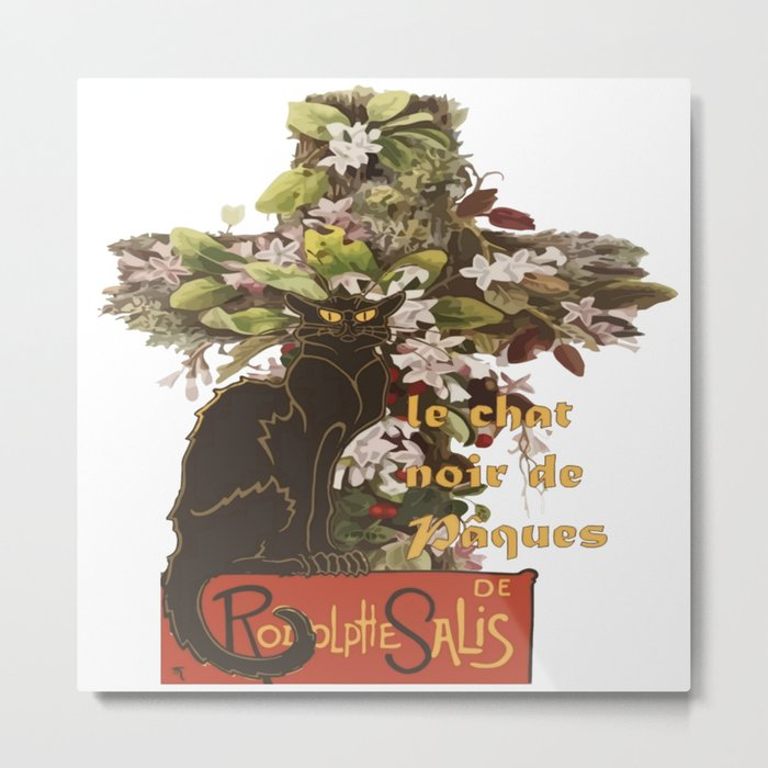 Easter Le Chat Noir de Paques With Floral Cross Metal Print