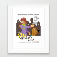 monster inc Framed Art Prints featuring Mystery Inc. (Die Monster Die! Variant) by William Vega