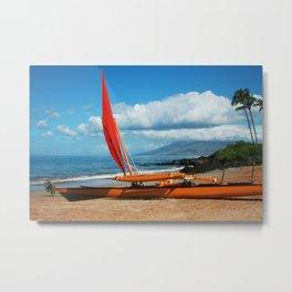 Hina Wāʻapea Sailing Canoe  Polo Beach Wailea Maui Hawaii Metal Print