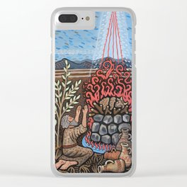 Fire falls on Sacrifice Clear iPhone Case