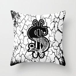 Grunge Dollar Sign Throw Pillow