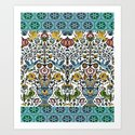 flower and birds in Persian blue mosaic by bluepersiandesign
