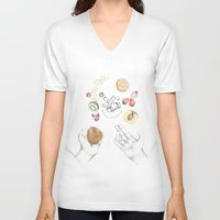 cooking V-neck T-shirts featuring Happy Cooking by Ana Mendes