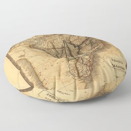 Map of Brazil and Paraguay (1828) Floor Pillow