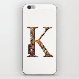 Floral letter K - Be KIND label text, Lo Lah Studio iPhone Skin