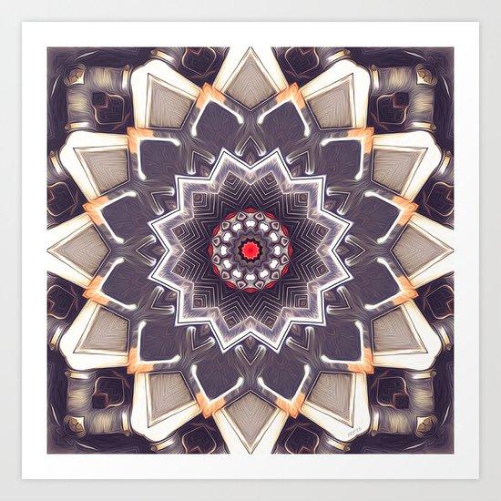 Abstract Gray Mandala Art Print