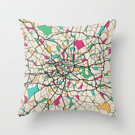 Colorful City Maps: London, United Kingdom Throw Pillow