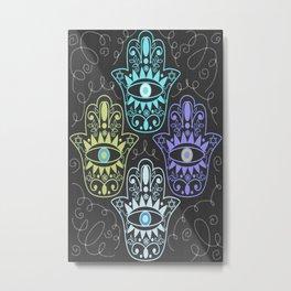 Hamsa Chalk Metal Print