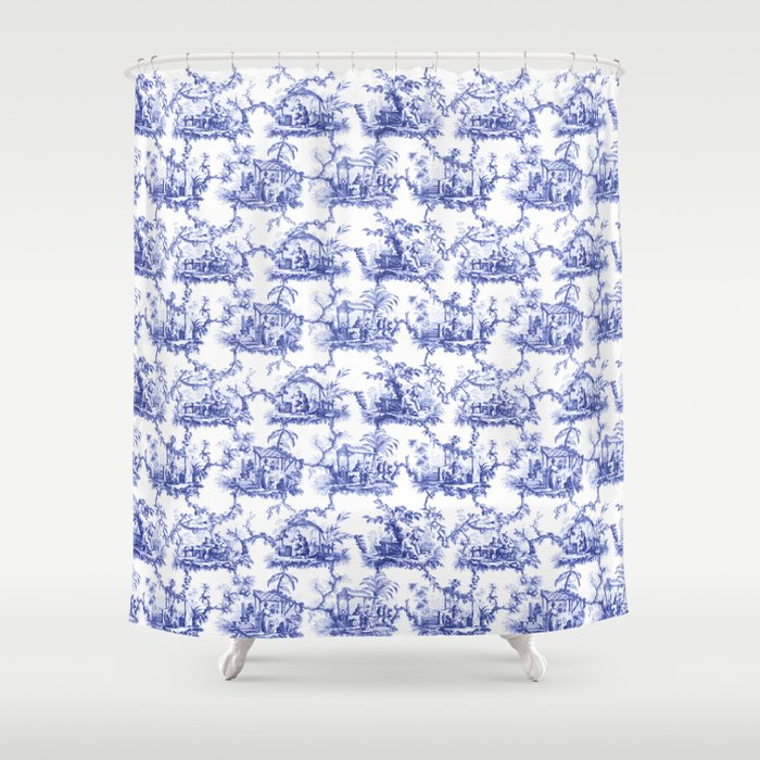Blue Chinoiserie Toile Shower Curtain By Thewaterjar