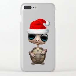 Christmas Turtle Wearing a Santa Hat Clear iPhone Case
