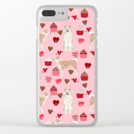 Akita valentines day cupcakes dog breed hearts pet portrait akitas pet friendly Clear iPhone Case