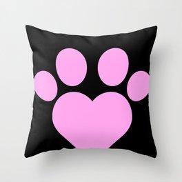 Cute Heart Paw Kawaii Print print Funny Love Gift Throw Pillow