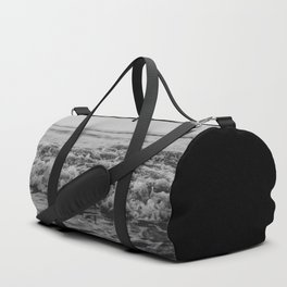 Black and White Pacific Ocean Waves Duffle Bag