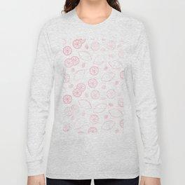 Modern blush pink white lemon berries summer trend Long Sleeve T-shirt