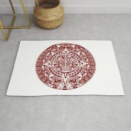Mayan Calendar // Burgundy Rug