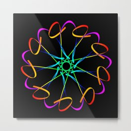 Guilloche yellow and galactic signs. Four neon objects for a certificate or a voucher. Metal Print